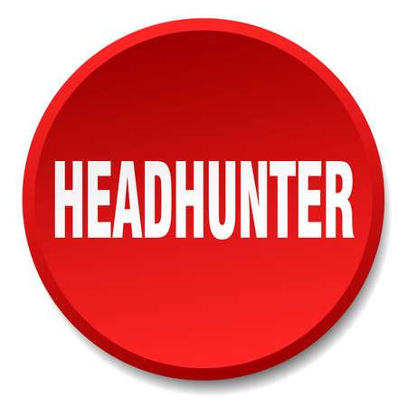 headhunter: headhunter red round flat isolated push button Illustration