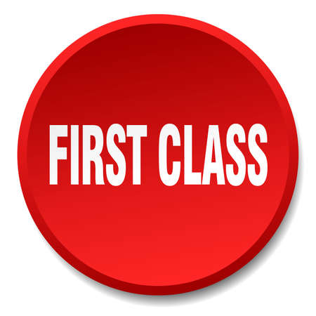 first class: first class red round flat isolated push button Illustration