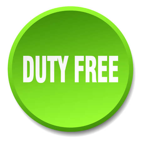 duty free: duty free green round flat isolated push button