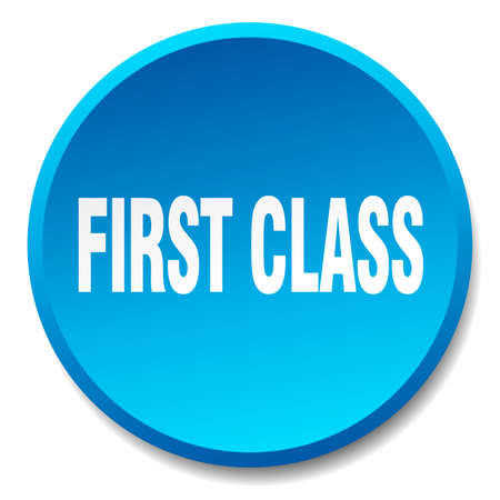 first class: first class blue round flat isolated push button Illustration