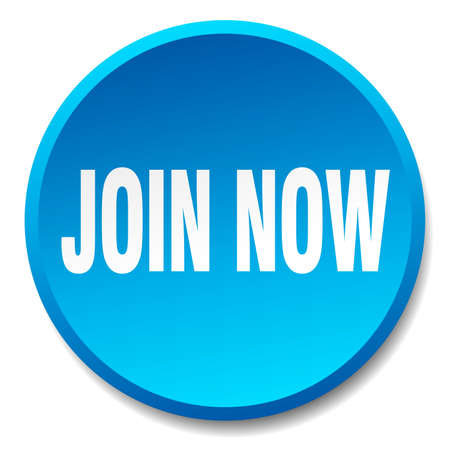 join now: join now blue round flat isolated push button Illustration