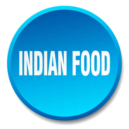 indian food: indian food blue round flat isolated push button