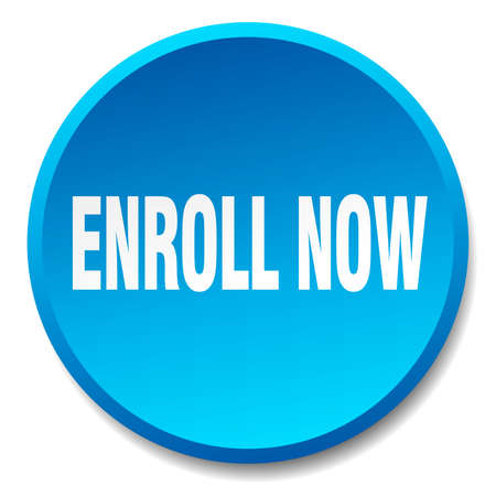 enroll: enroll now blue round flat isolated push button Illustration