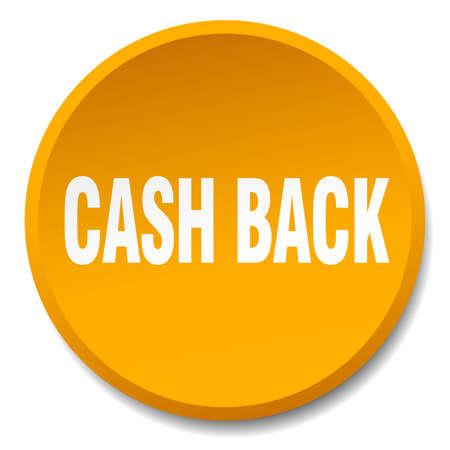 cash back: cash back orange round flat isolated push button