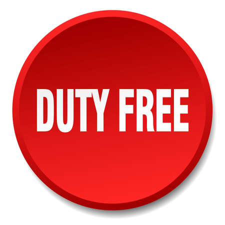 duty: duty free red round flat isolated push button