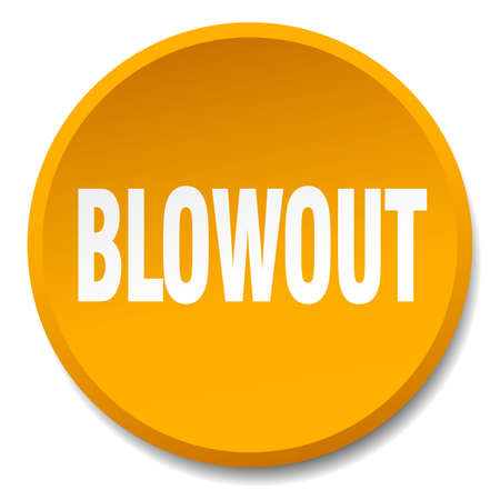 blowout: blowout orange round flat isolated push button