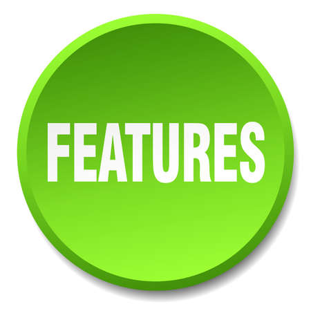 features: features green round flat isolated push button Illustration