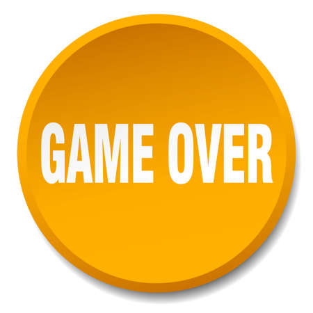 the game is over: game over orange round flat isolated push button