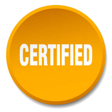 certify: certified orange round flat isolated push button