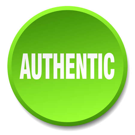 authentic: authentic green round flat isolated push button
