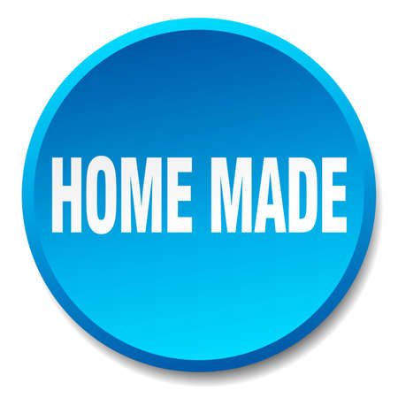 home made: home made blue round flat isolated push button