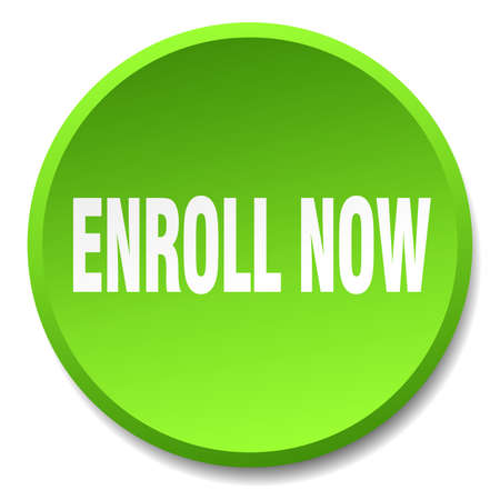 enroll: enroll now green round flat isolated push button Illustration