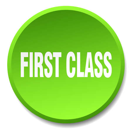 first in class: first class green round flat isolated push button