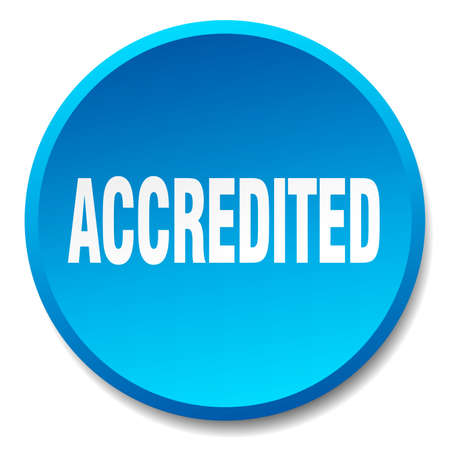 accredited: accredited blue round flat isolated push button
