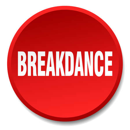 breakdance: breakdance red round flat isolated push button