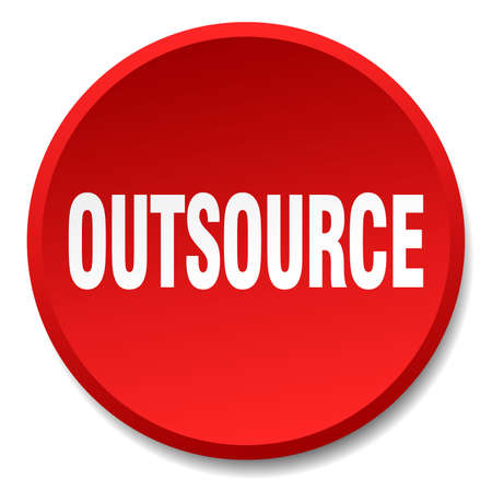 outsource: outsource red round flat isolated push button