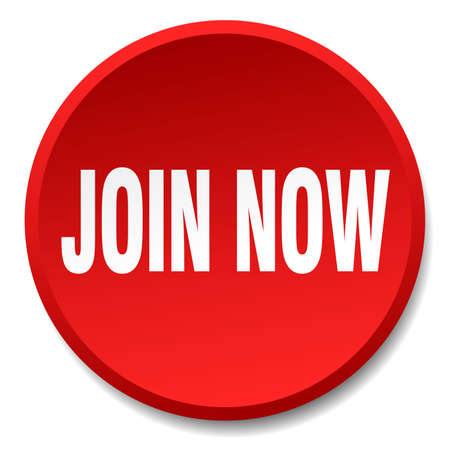 join now: join now red round flat isolated push button