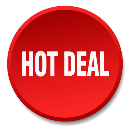 hot deal: hot deal red round flat isolated push button Illustration
