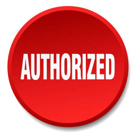 authorized: authorized red round flat isolated push button Illustration