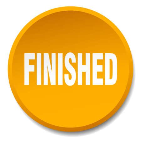 finished: finished orange round flat isolated push button Illustration