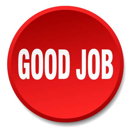 good job: good job red round flat isolated push button