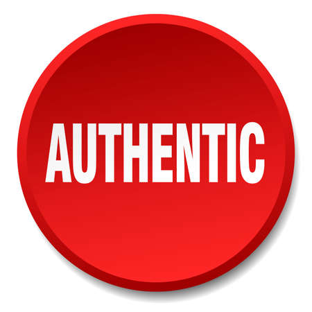 authentic: authentic red round flat isolated push button