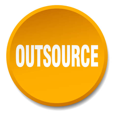 outsource: outsource orange round flat isolated push button