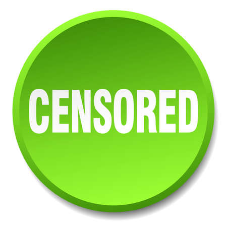 censored: censored green round flat isolated push button Illustration