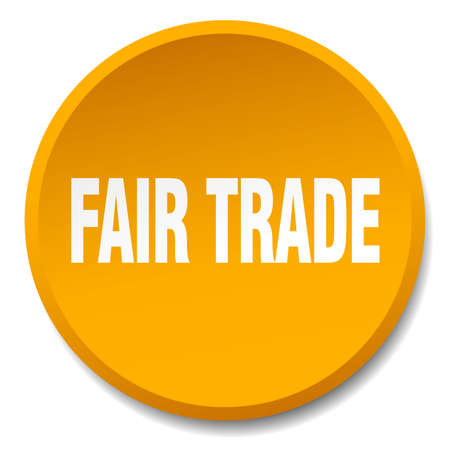 fair trade: fair trade orange round flat isolated push button Illustration