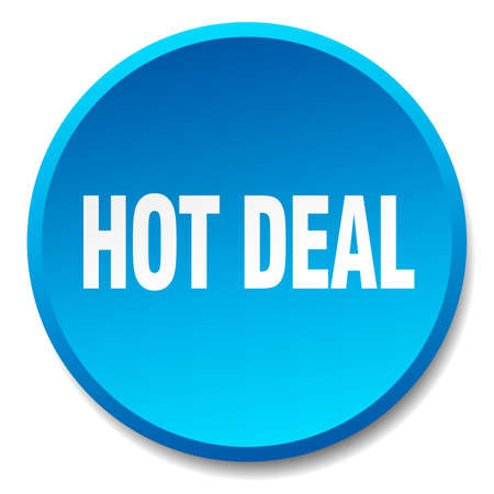 hot deal: hot deal blue round flat isolated push button