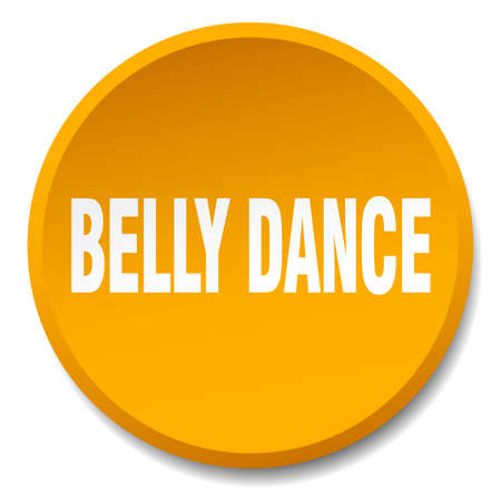 belly button: belly dance orange round flat isolated push button