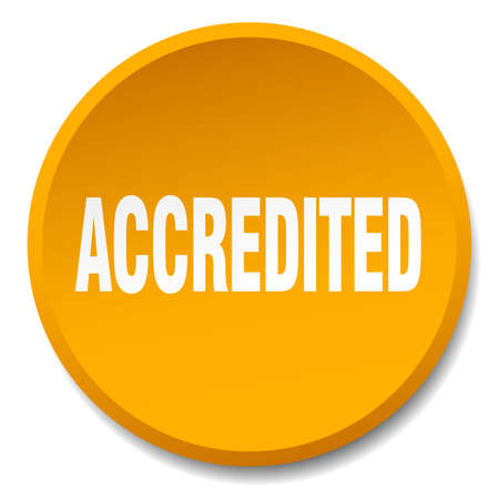 accredited: accredited orange round flat isolated push button
