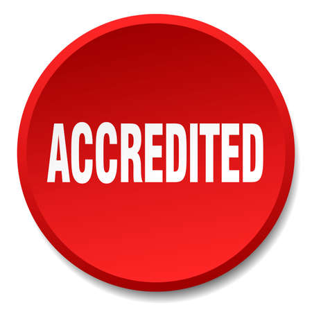 accredited: accredited red round flat isolated push button Illustration