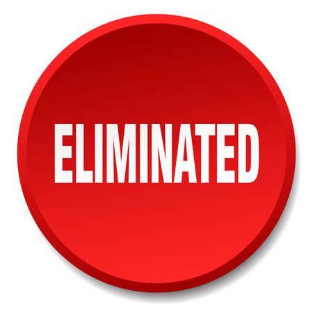 eliminated: eliminated red round flat isolated push button Illustration