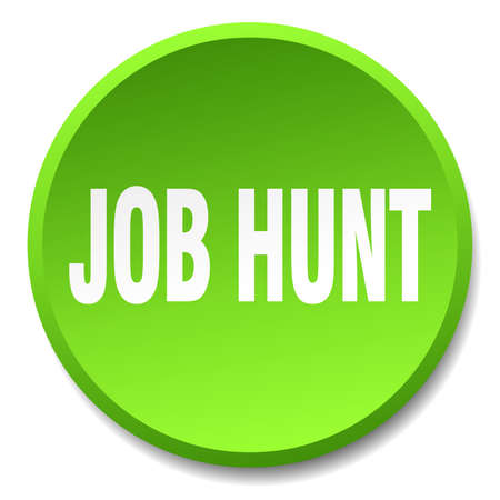 job hunt: job hunt green round flat isolated push button Illustration