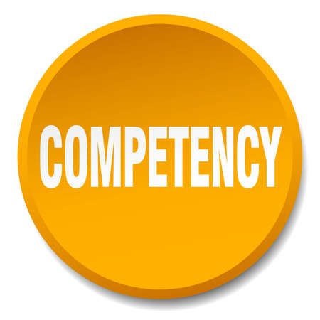 competency: competency orange round flat isolated push button Illustration