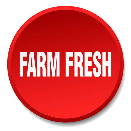 farm fresh: farm fresh red round flat isolated push button