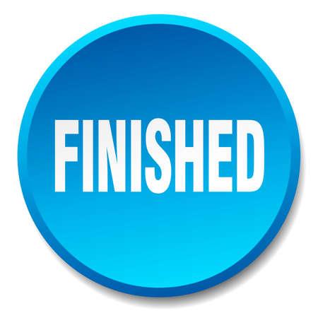 finished: finished blue round flat isolated push button