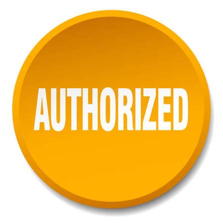 authorized: authorized orange round flat isolated push button