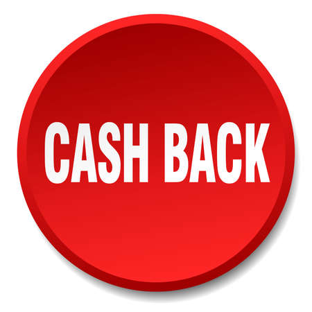 round back: cash back red round flat isolated push button Illustration