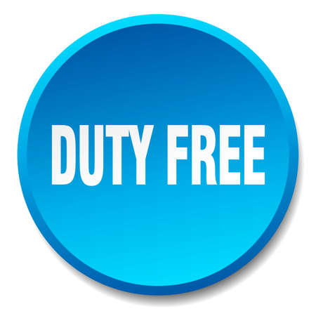 duty free: duty free blue round flat isolated push button