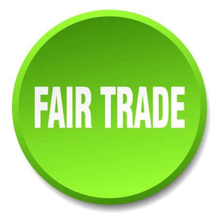 fair trade: fair trade green round flat isolated push button Illustration