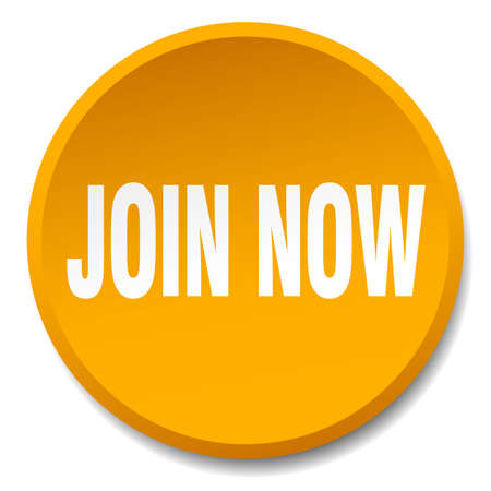 join now: join now orange round flat isolated push button