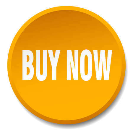 buy now orange round flat isolated push button