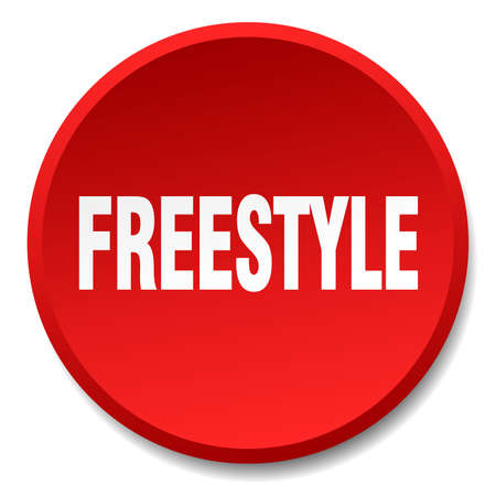 freestyle: freestyle red round flat isolated push button Illustration