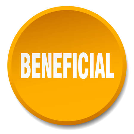 beneficial: beneficial orange round flat isolated push button