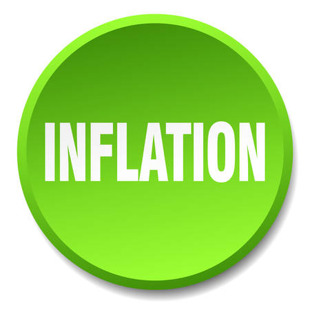 inflation: inflation green round flat isolated push button
