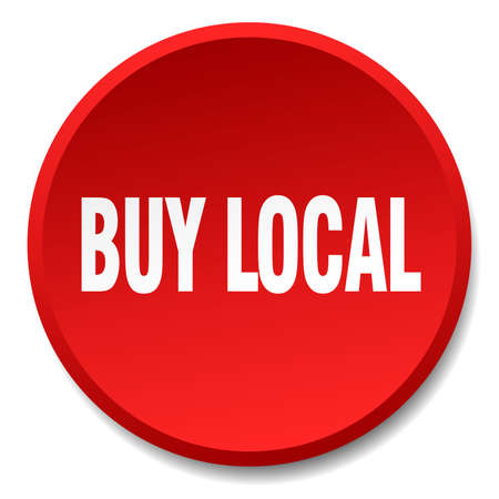 buy local: buy local red round flat isolated push button Illustration