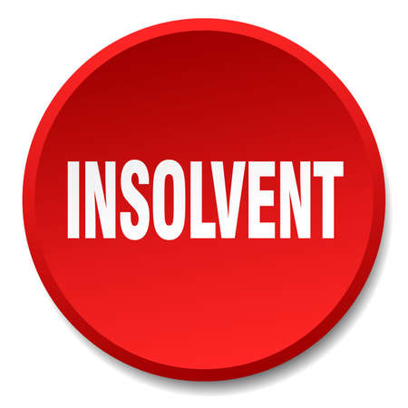 bankrupt: insolvent red round flat isolated push button