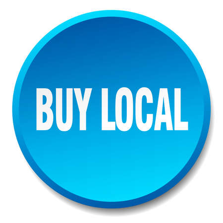 buy local: buy local blue round flat isolated push button Illustration